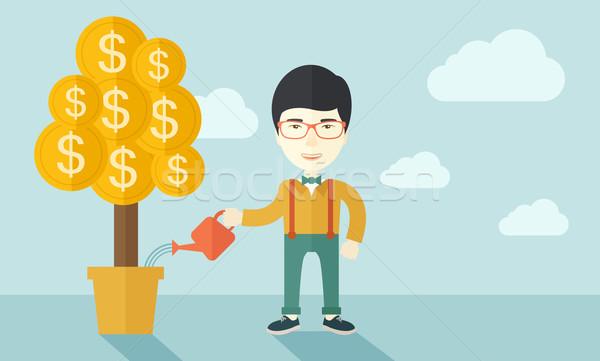 Asian biznesmen szczęśliwie stałego Zdjęcia stock © RAStudio