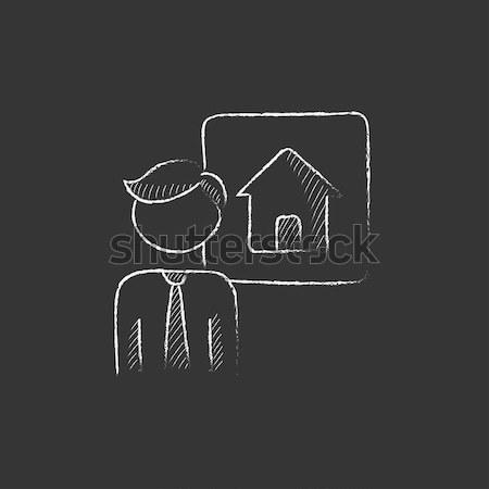Real estate agent with three houses icon drawn in chalk. Stock photo © RAStudio