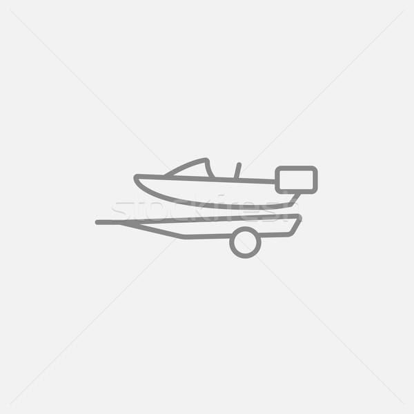 Boat on trailer for transportation line icon. Stock photo © RAStudio