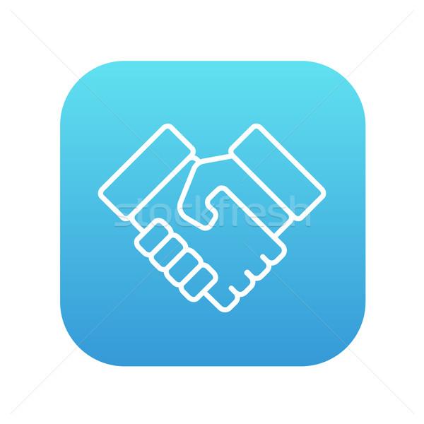 Handshake and successful real estate transaction line icon. Stock photo © RAStudio