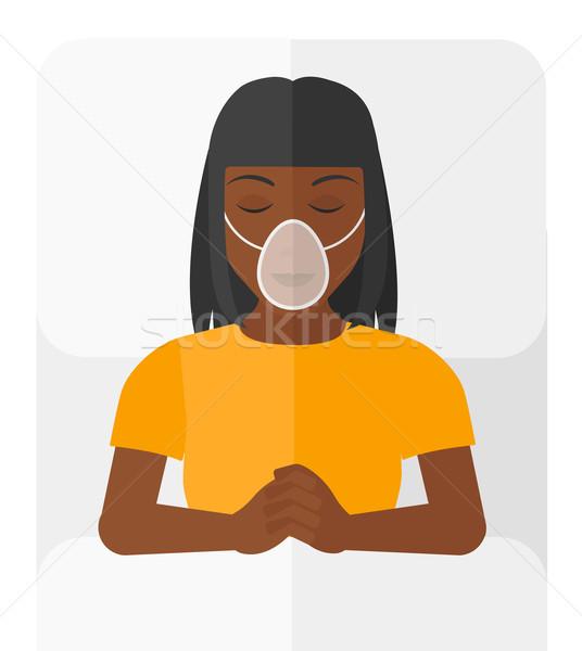 Hasta oksijen maskesi vektör dizayn örnek Stok fotoğraf © RAStudio