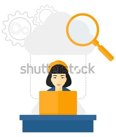 ストックフォト: 女性 · 作業 · オフィス · ノートパソコン · 雲