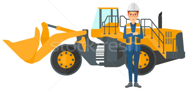 Miner with mining equipment on background. Stock photo © RAStudio