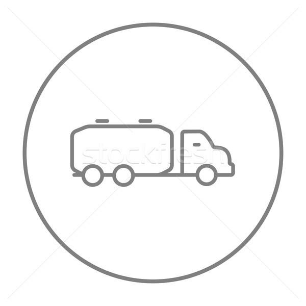 Camion liquide fret ligne icône web Photo stock © RAStudio