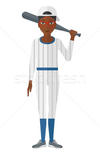Baseball player standing with bat. Stock photo © RAStudio