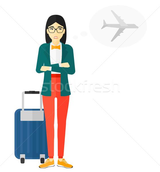 Kobieta przestraszony przyszłości lotu asian wektora Zdjęcia stock © RAStudio