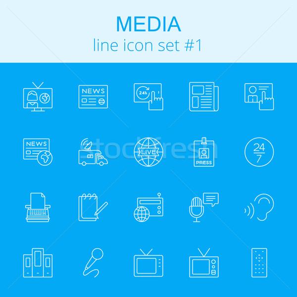 Media vector lichtblauw icon geïsoleerd Stockfoto © RAStudio