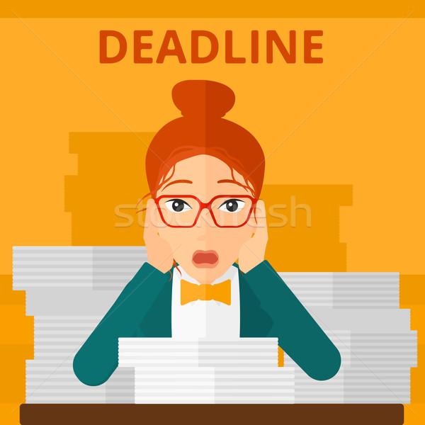 Stock photo: Woman having problem with deadline.