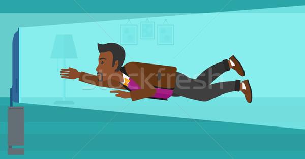 человека страдание телевизор зависимость Flying экране Сток-фото © RAStudio