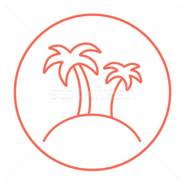 Сток-фото: два · пальмами · острове · линия · икона · веб