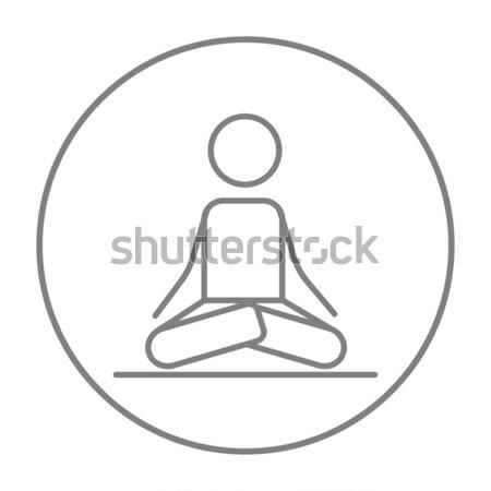 Man meditating in lotus pose line icon. Stock photo © RAStudio