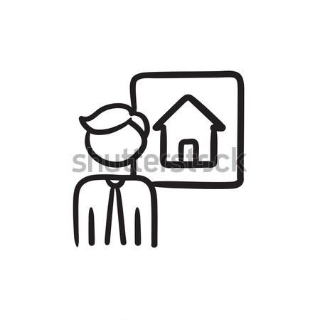 Agente immobiliare line icona angoli web mobile Foto d'archivio © RAStudio