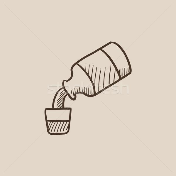 Medicine and measuring cup sketch icon. Stock photo © RAStudio
