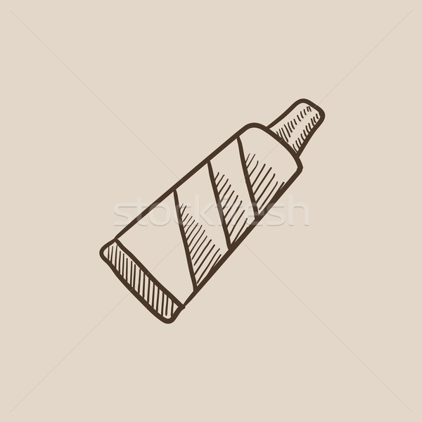 管 歯磨き粉 スケッチ アイコン ウェブ 携帯 ストックフォト © RAStudio