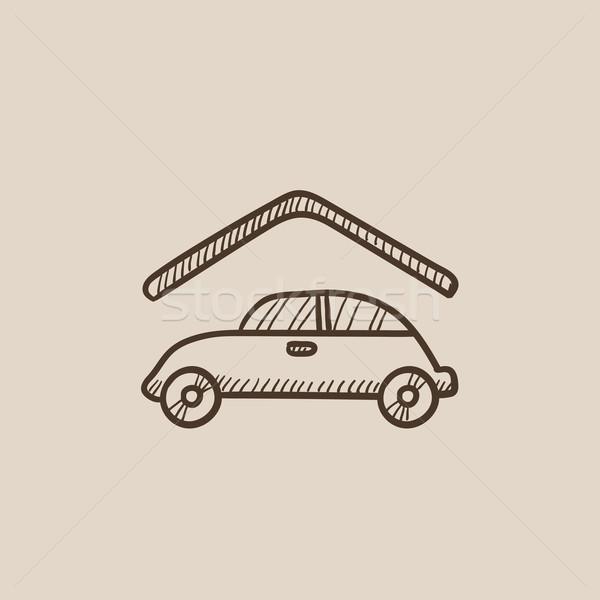 автомобилей гаража эскиз икона веб мобильных Сток-фото © RAStudio