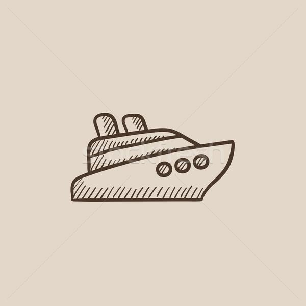 Statek wycieczkowy szkic ikona internetowych komórkowych infografiki Zdjęcia stock © RAStudio