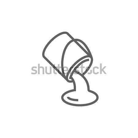 Paint pouring from bucket line icon. Stock photo © RAStudio