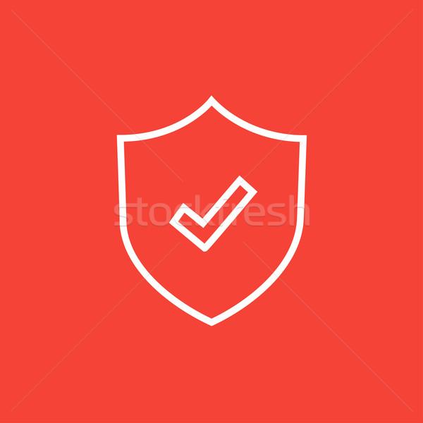 Shield with check mark line icon. Stock photo © RAStudio