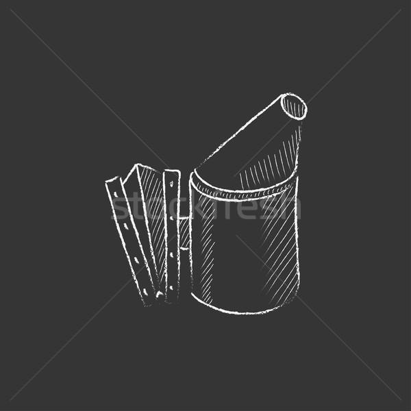 Stock fotó: Méh · kaptár · dohányos · rajzolt · kréta · ikon
