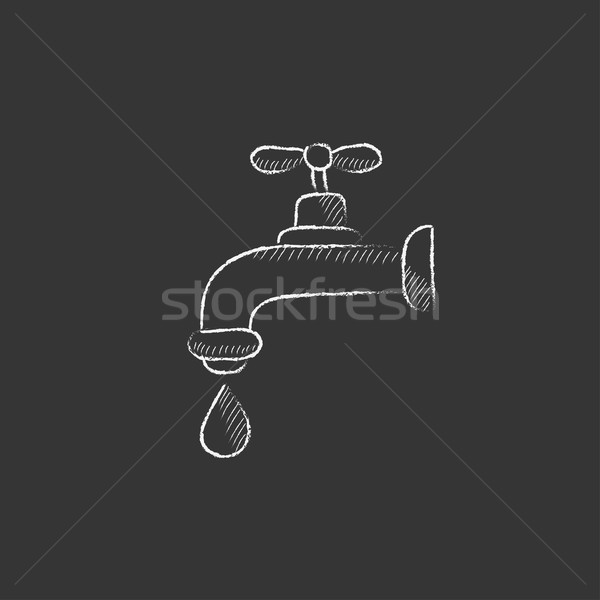 Faucet with water drop. Drawn in chalk icon. Stock photo © RAStudio
