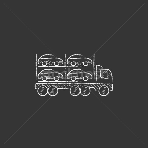Car carrier. Drawn in chalk icon. Stock photo © RAStudio