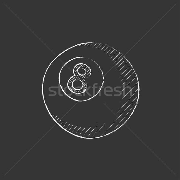Biliárd labda rajzolt kréta ikon kézzel rajzolt Stock fotó © RAStudio