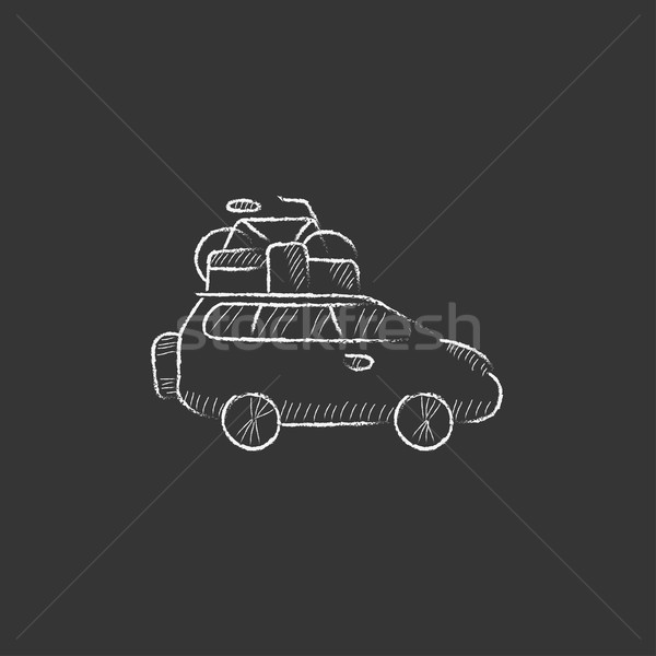 Car with bicycle mounted to the roof. Drawn in chalk icon. Stock photo © RAStudio