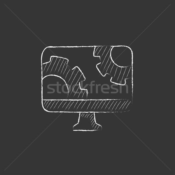 Számítógépmonitor sebességváltó rajzolt kréta ikon kézzel rajzolt Stock fotó © RAStudio