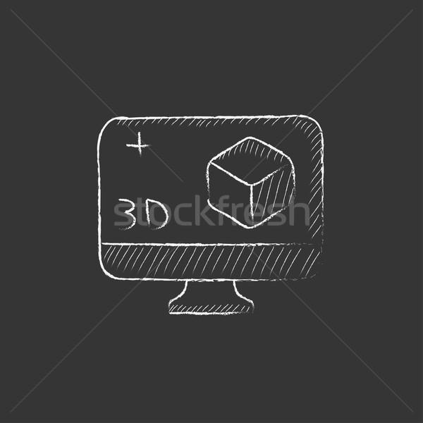 Bilgisayar monitörü 3D kutu tebeşir ikon Stok fotoğraf © RAStudio
