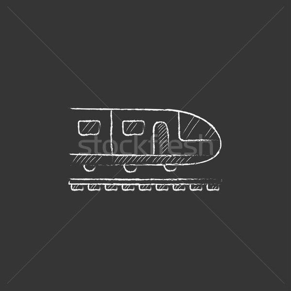 Modernes à grande vitesse train craie icône Photo stock © RAStudio
