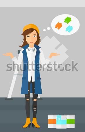Waitress with like button. Stock photo © RAStudio