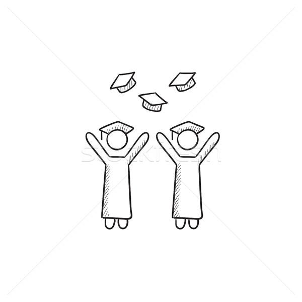 Graduates throwing caps sketch icon. Stock photo © RAStudio