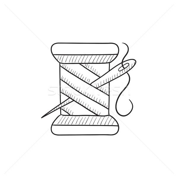 Carretel fio agulha esboço ícone vetor Foto stock © RAStudio