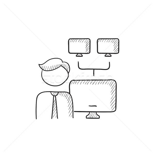 Hálózat adminisztrátor rajz ikon vektor izolált Stock fotó © RAStudio