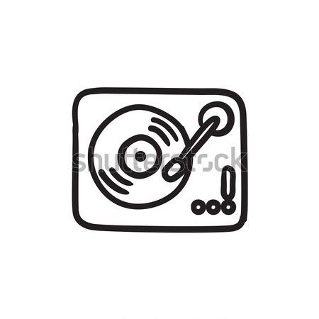 Draaitafel schets icon vector geïsoleerd Stockfoto © RAStudio
