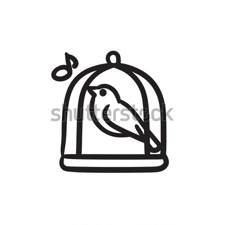 Aves cantando jaula boceto icono vector Foto stock © RAStudio