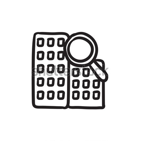 Condominium and magnifying glass sketch icon. Stock photo © RAStudio