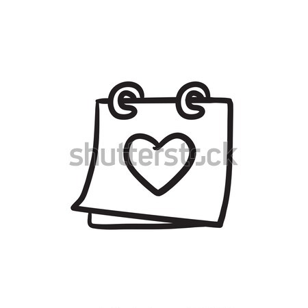 Calendar with heart sketch icon. Stock photo © RAStudio