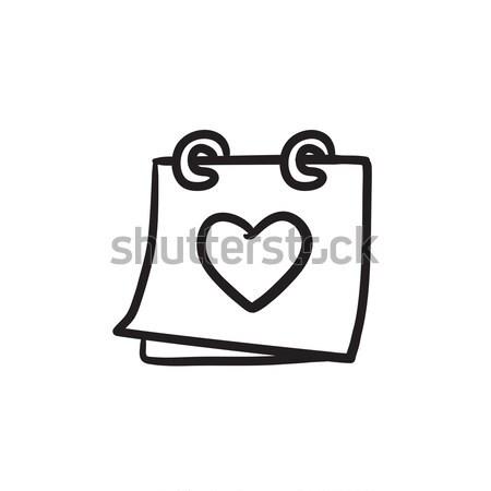 Naptár szív rajz ikon vektor izolált Stock fotó © RAStudio
