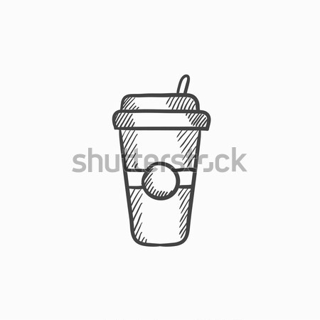 Disposable cup with drinking straw sketch icon. Stock photo © RAStudio