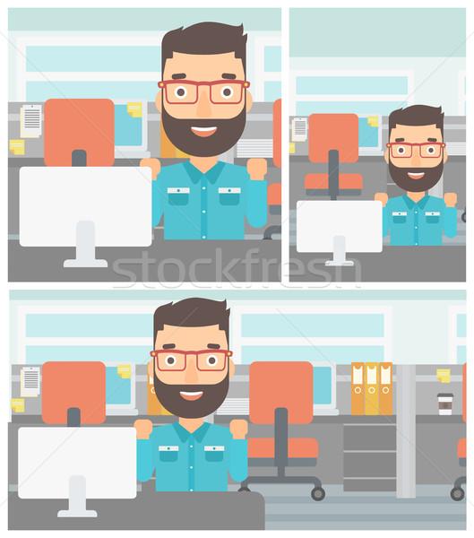 Geslaagd zakenman jonge baard vergadering Stockfoto © RAStudio