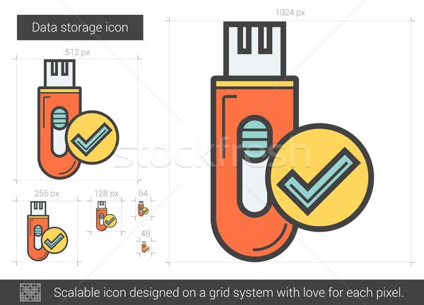 Memorizzazione dei dati line icona vettore isolato bianco Foto d'archivio © RAStudio