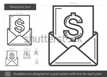 Stockfoto: Lezen · post · lijn · icon · vector · geïsoleerd