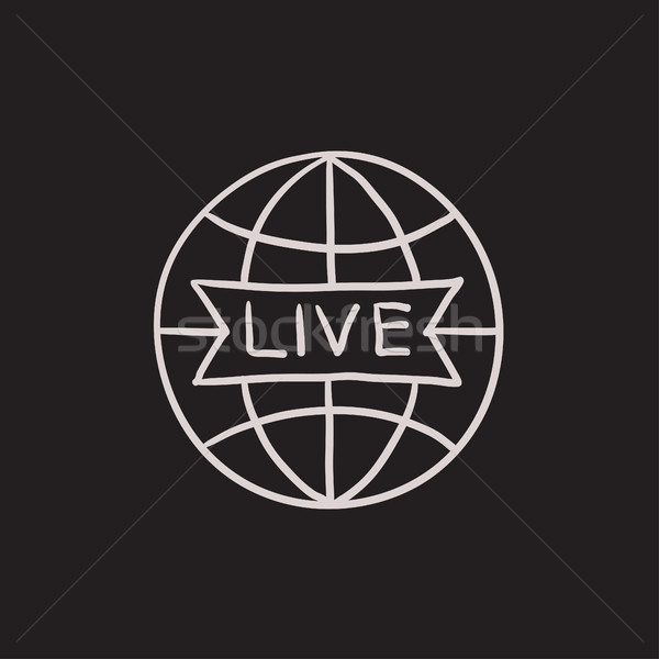 Wereldbol live teken schets icon vector Stockfoto © RAStudio