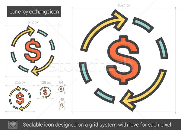 валюта обмена линия икона вектора изолированный Сток-фото © RAStudio
