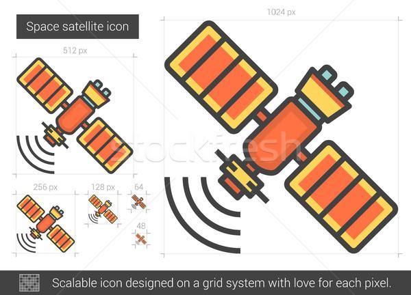 Spazio satellite line icona vettore isolato Foto d'archivio © RAStudio