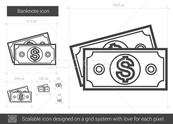 банкнота линия икона вектора изолированный белый Сток-фото © RAStudio