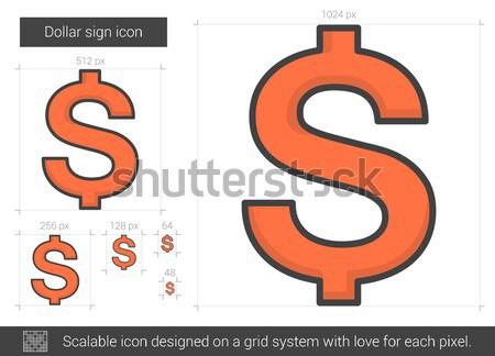 Dollarzeichen line Symbol Vektor isoliert weiß Stock foto © RAStudio