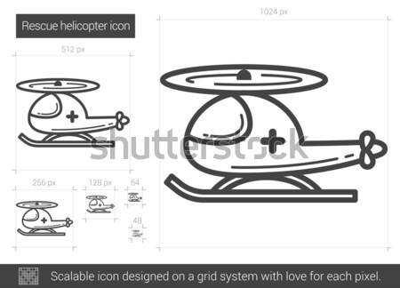 Redding helikopter lijn icon vector geïsoleerd Stockfoto © RAStudio