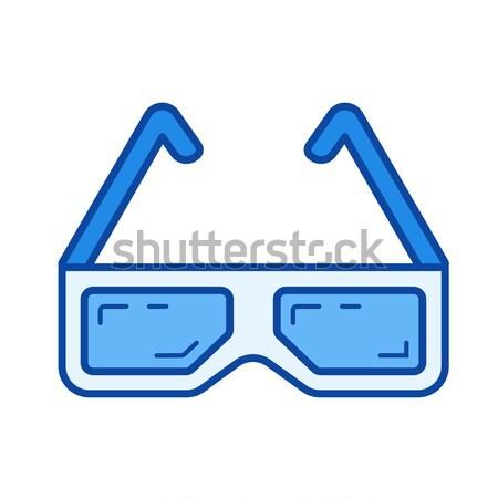 Drie bioscoop bril lijn icon vector Stockfoto © RAStudio